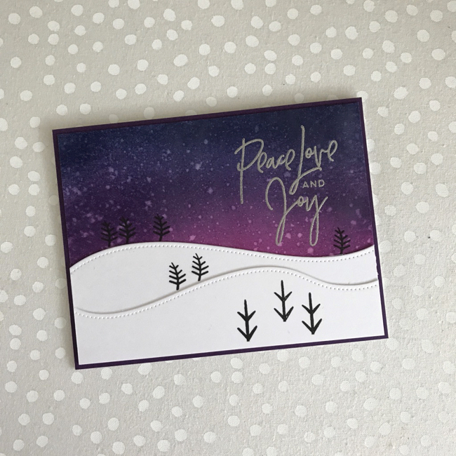 Peace Love Joy Distress Ink Night Sky Card by Katie G. // rightathomeshop.com/blog