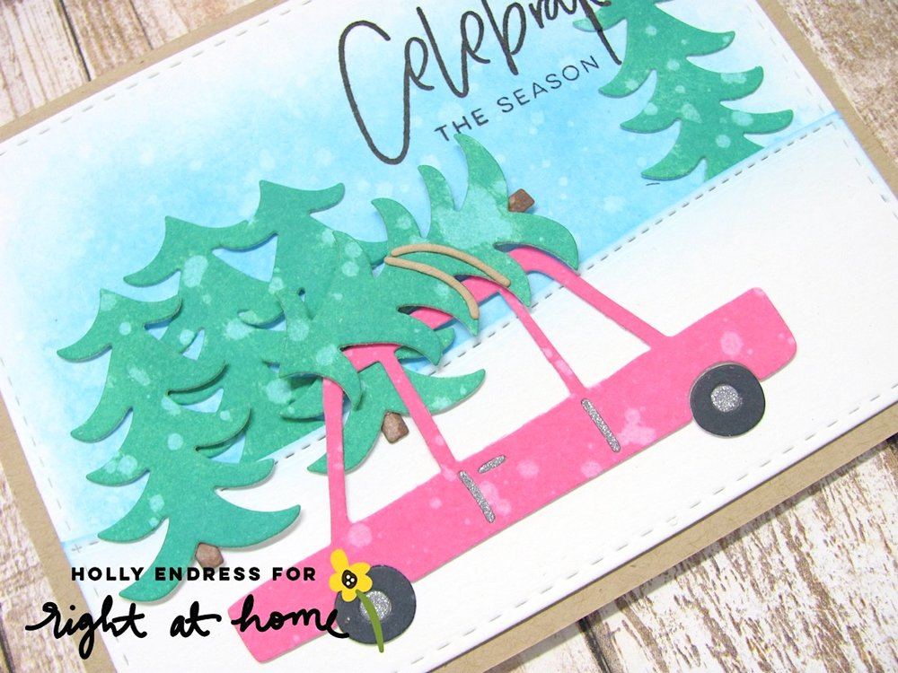 Celebrate the Season Holiday Car Card Using Distress Oxide Inks by Holly // rightathomeshop.com/blog