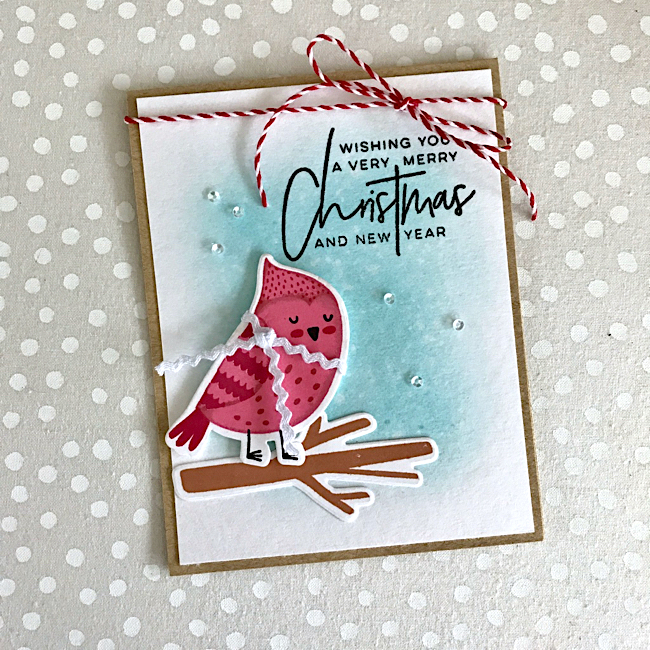 Merry Christmas Cozy Cardinal Card by Katie G. // rightathomeshop.com/blog