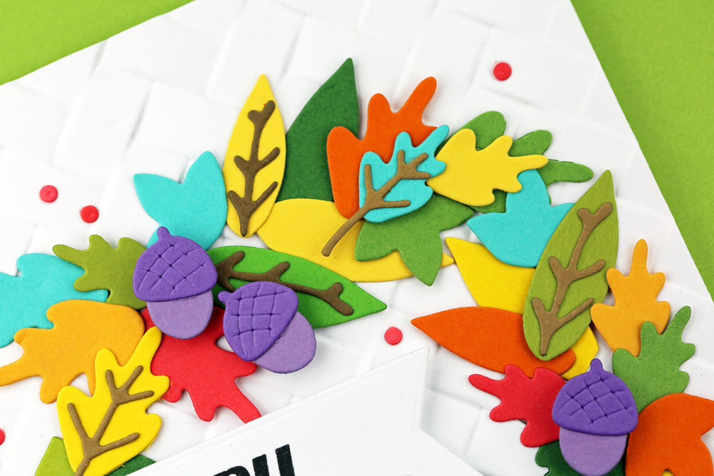 Happy Thanksgiving Colorful Seasonal Wreath Card by Jeanne J. // rightathomeshop.com/blog
