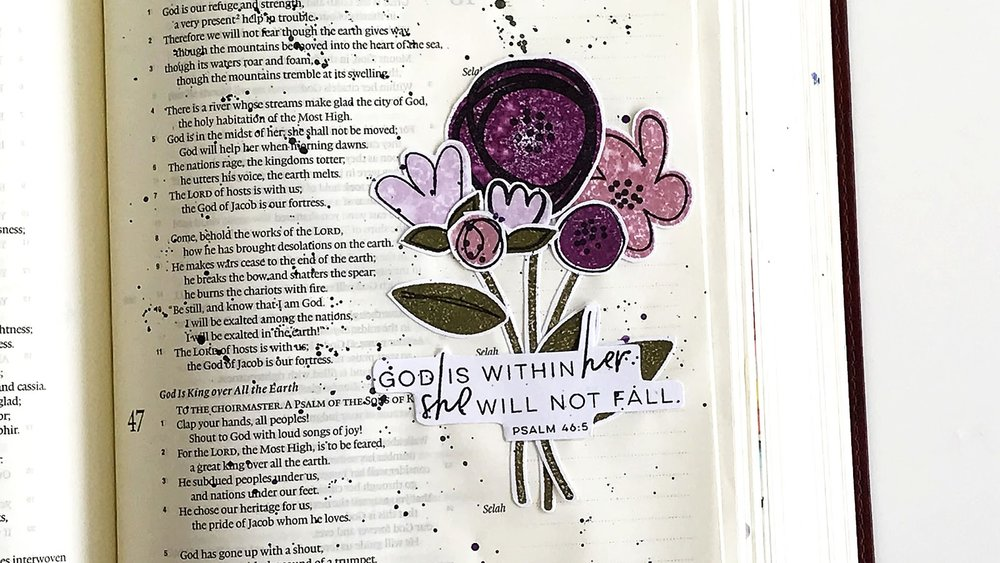 """God is within her, she will not fall"" Psalm 46:5 Bible Journaling Entry by Lindsey // rightathomeshop.com/blog"
