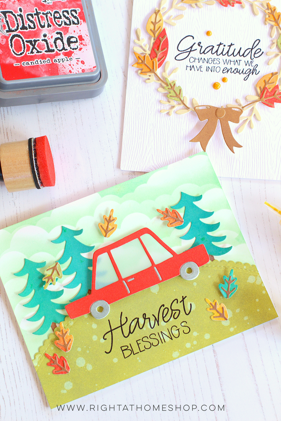 Fall Seasonal Wreath Cards Using Distress Oxide Inks by Nicole // rightathomeshop.com/blog