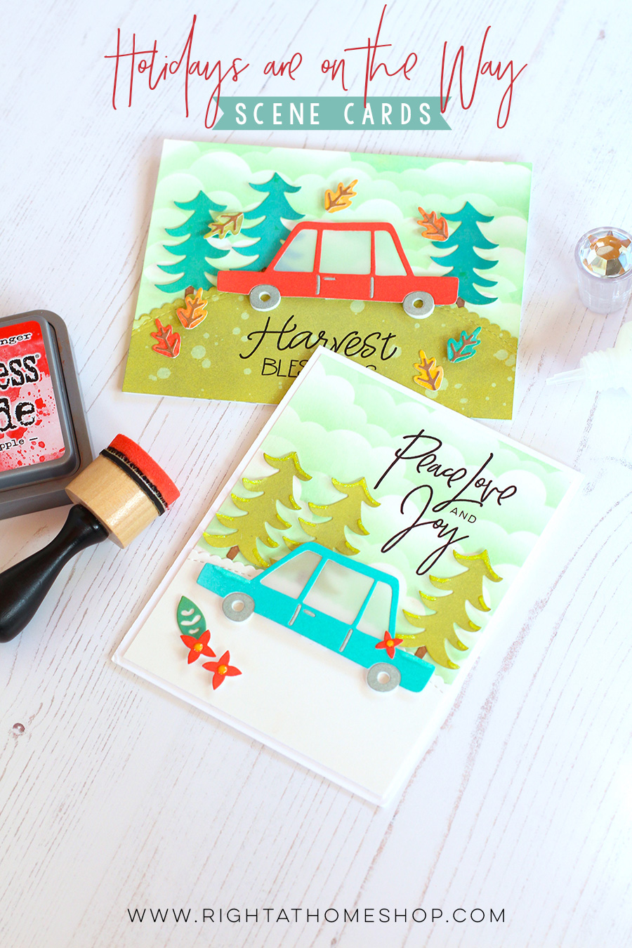 Holidays are on the Way Scene Cards Using Distress Oxide Inks by Nicole // rightathomeshop.com/blog