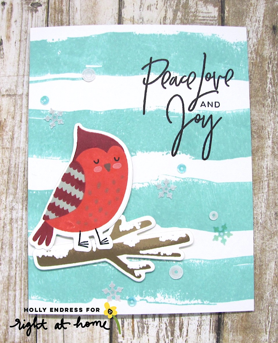Peace Love Joy Cozy Cardinal Card by Holly // rightathomeshop.com/blog