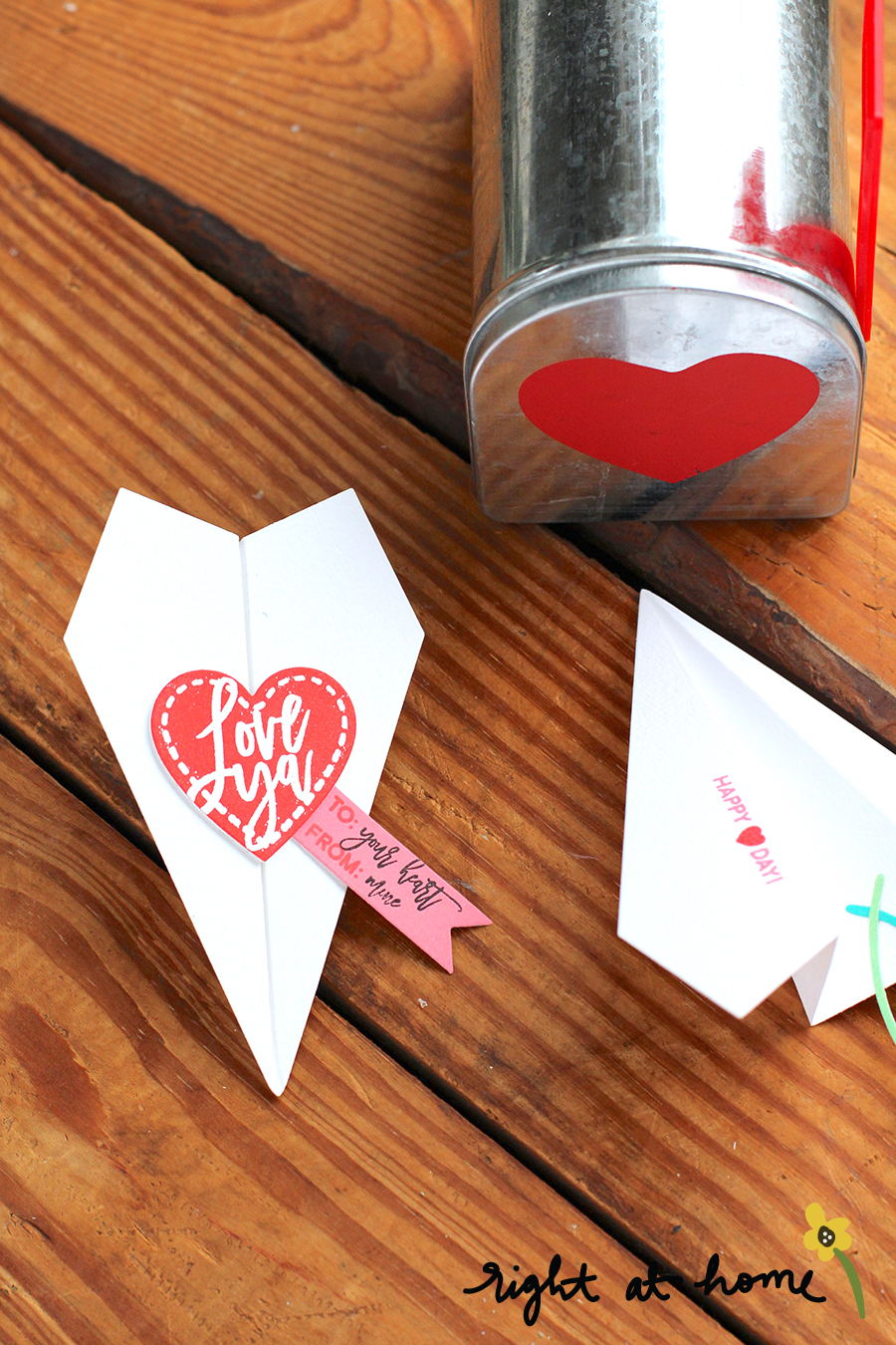 Folded Airplane Die Set Valentines // rightathomeshop.com/blog