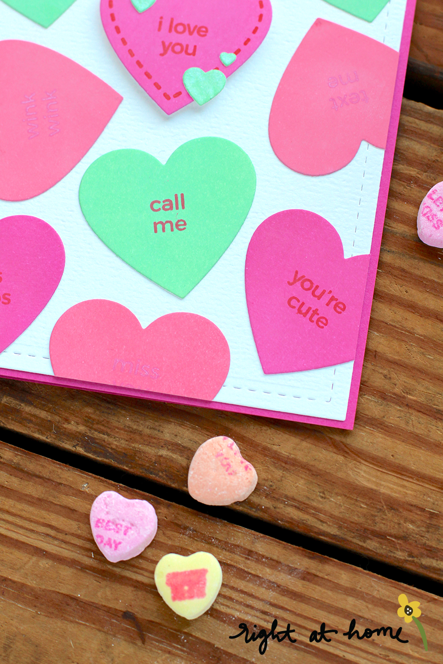 I Love You Candy Hearts Background Folded Airplane Die Set Card // rightathomeshop.com/blog