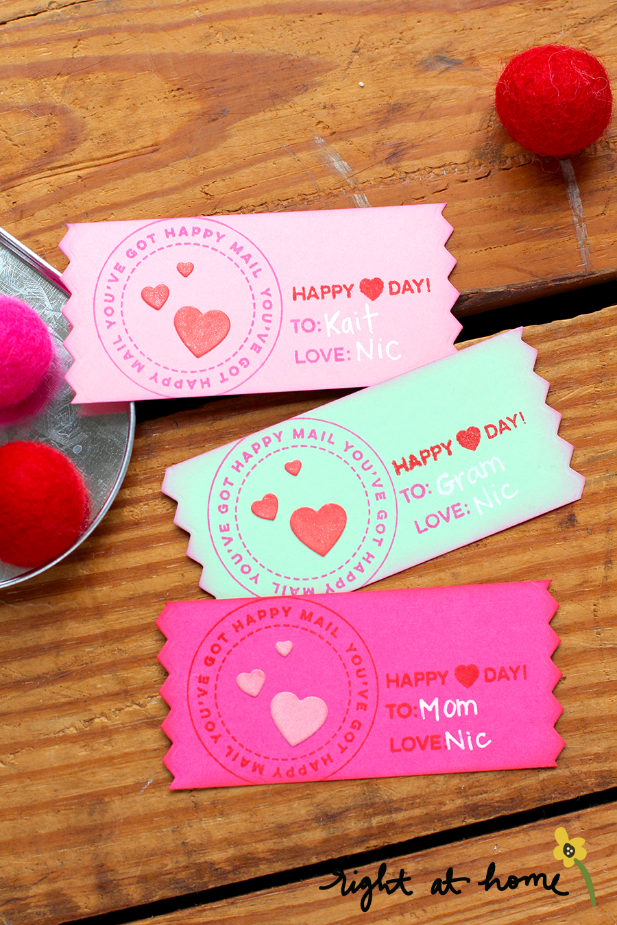 Happy (Heart) Day Ticket Valentines // rightathomeshop.com/blog