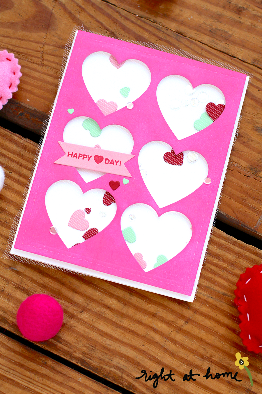 Heart Shaker Card Using Die-Cuts + Tulle // rightathomeshop.com/blog