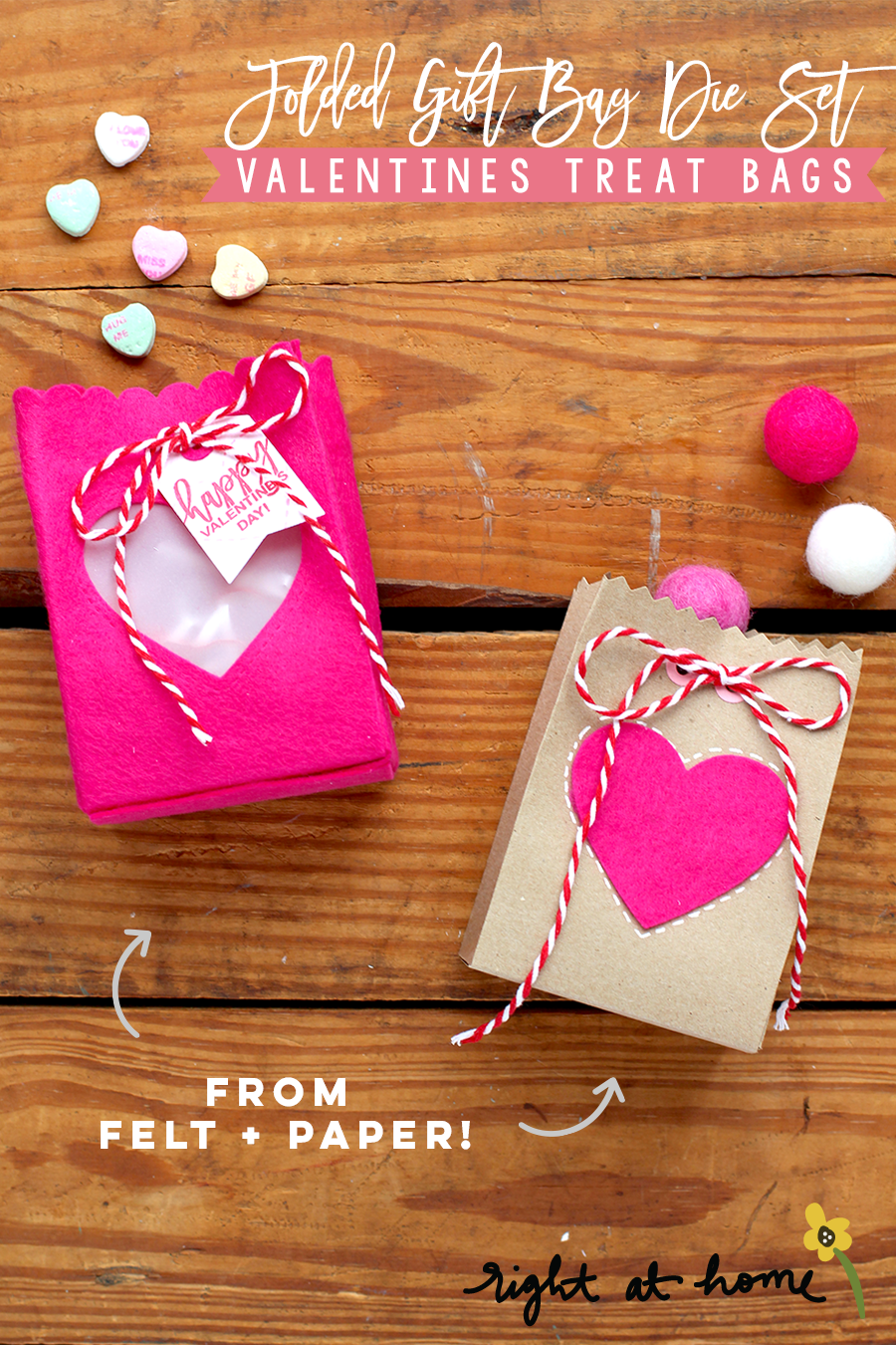 Day #2: Folded Gift Bag Die Set Felt + Paper Valentines Treat Bags // rightathomeshop.com/blog