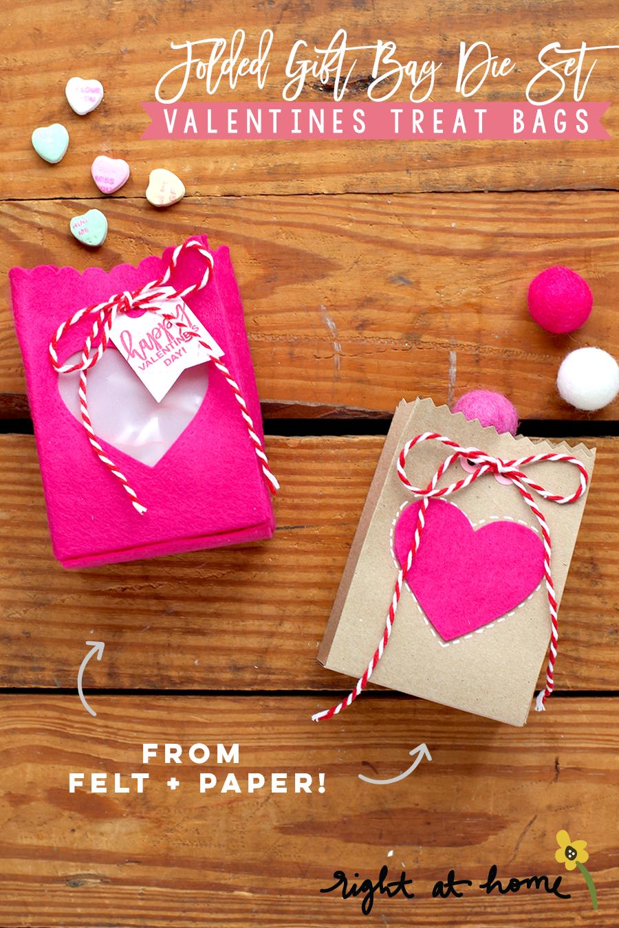 Day #2: Folded Gift Bag Die Set Felt + Paper Valentines Treat Bags // rightathomeshop.com/blog