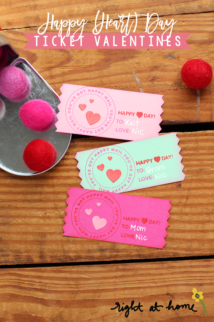Day #7: Happy (Heart) Day Ticket Valentines // rightathomeshop.com/blog