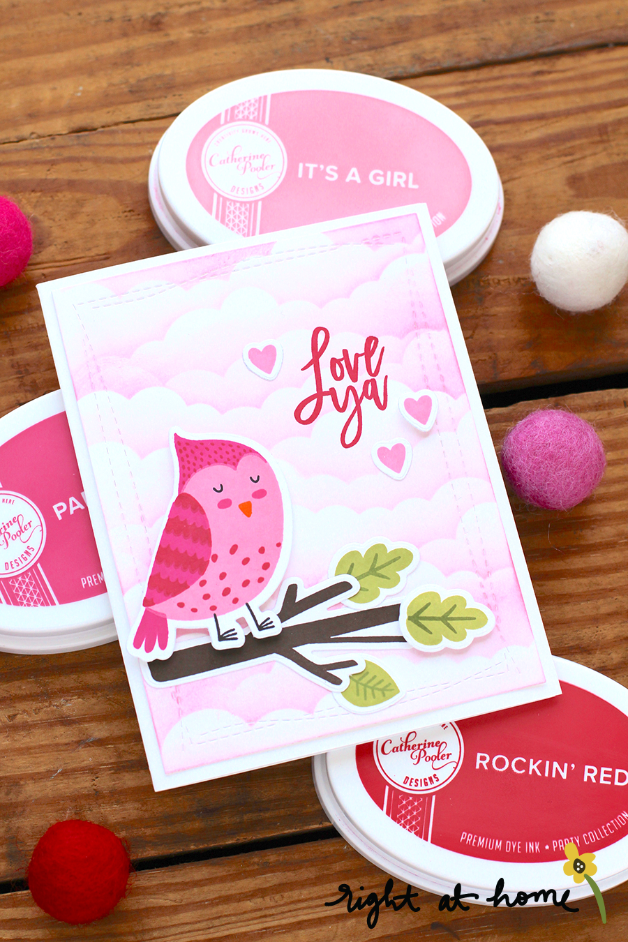 Love Ya Cozy Cardinal Valentine's Day Card Using Catherine Pooler Designs Dye Inks // rightathomeshop.com/blog