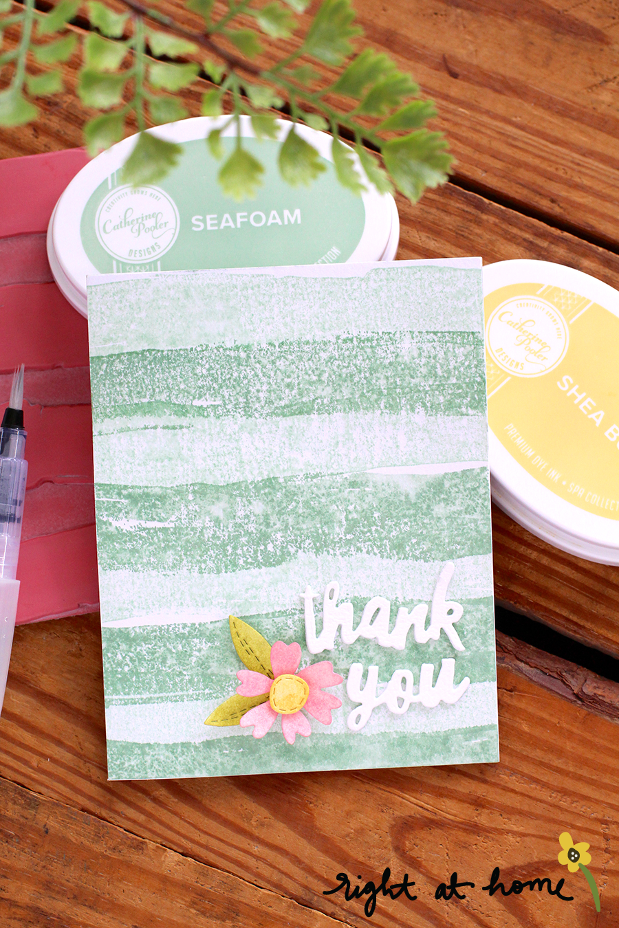 Thank You Watercolor Background Stamp Card // National Craft Month with Right at Home + My Sweet Petunia - rightathomeshop.com/blog