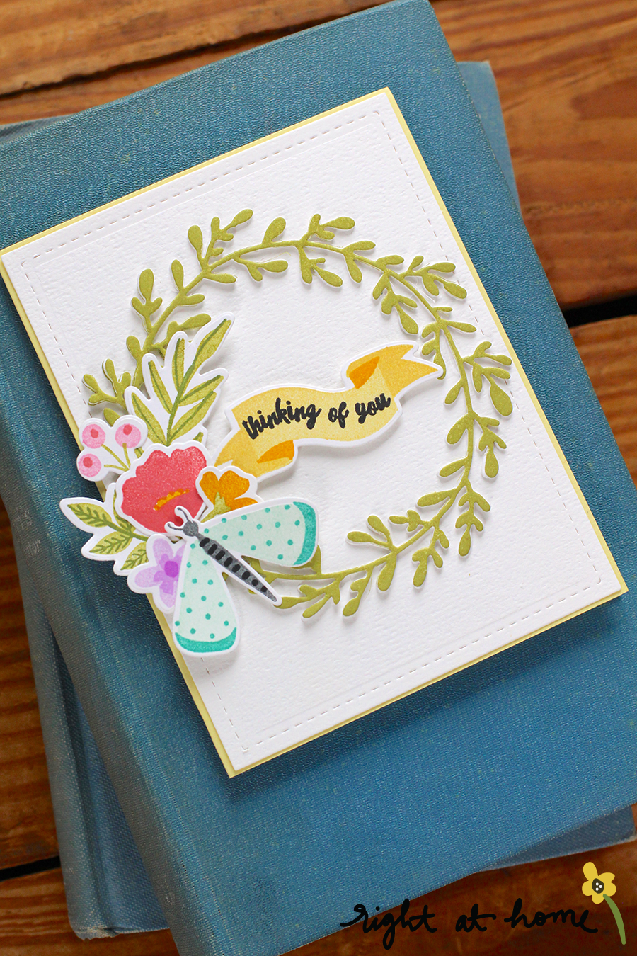 Freshly Picked Seasonal Wreath Card // Right at Home Stamps + Catherine Pooler Ink Blog Hop - rightathomeshop.com/blog