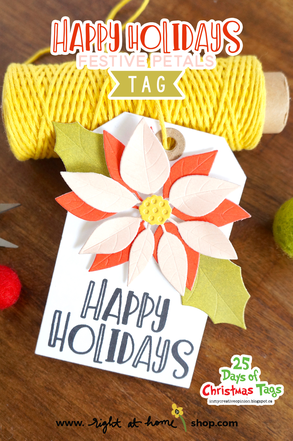 Click to view (+watch!) this Happy Holidays DIY Christmas Tag using the Festive Petals Die Set from Right at Home! Created as part of the 25 Days of Christmas Tags InstaHop. All details at rightathomeshop.com/blog.