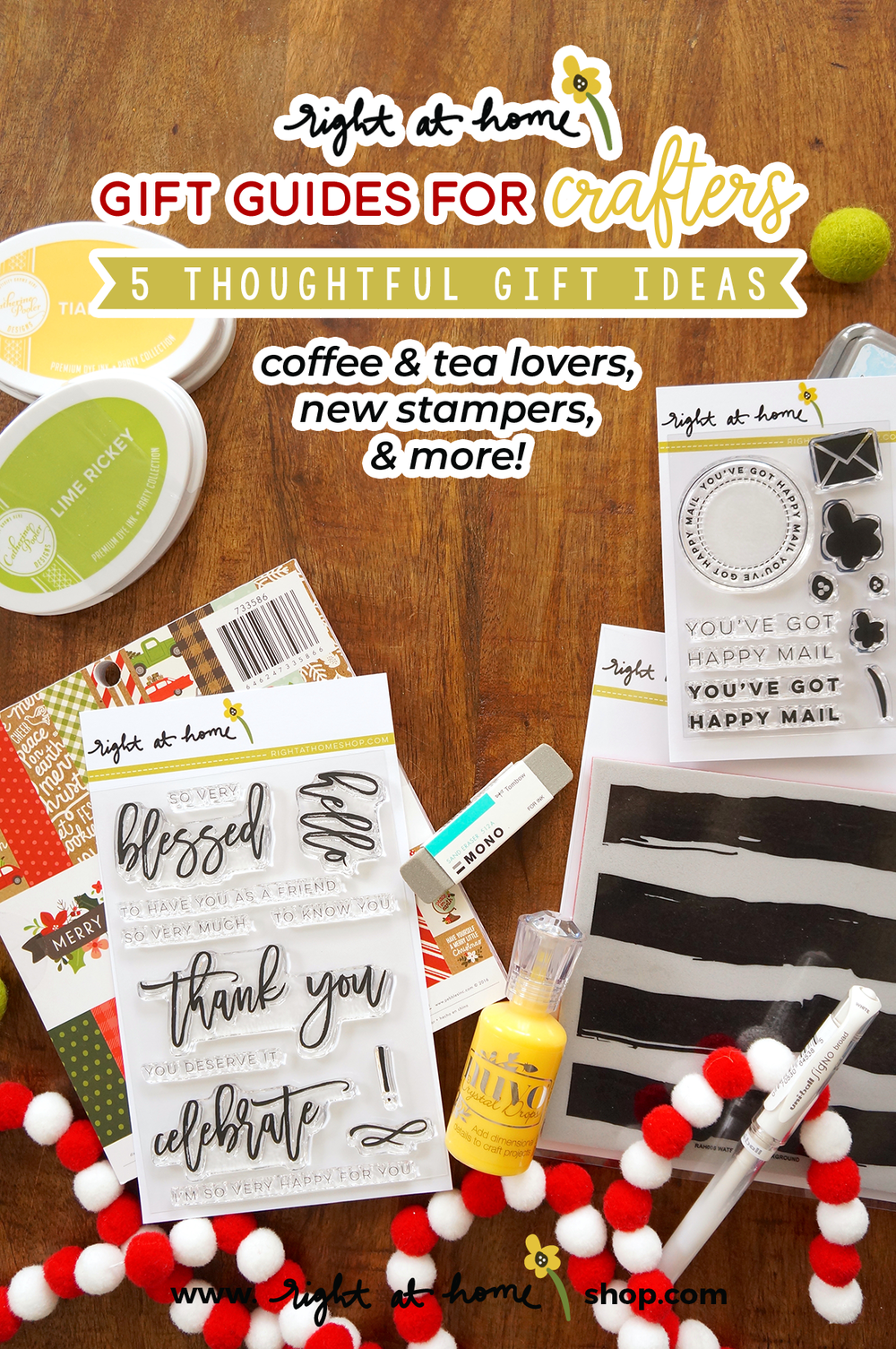 Looking for thoughtful gift ideas for your crafty friends? Visit my post for 5 easy ideas that are sure to make the recipient feel extra loved! Coffee & tea loving cardmakers, new stampers & more. All details at www.rightathomeshop.com/blog.