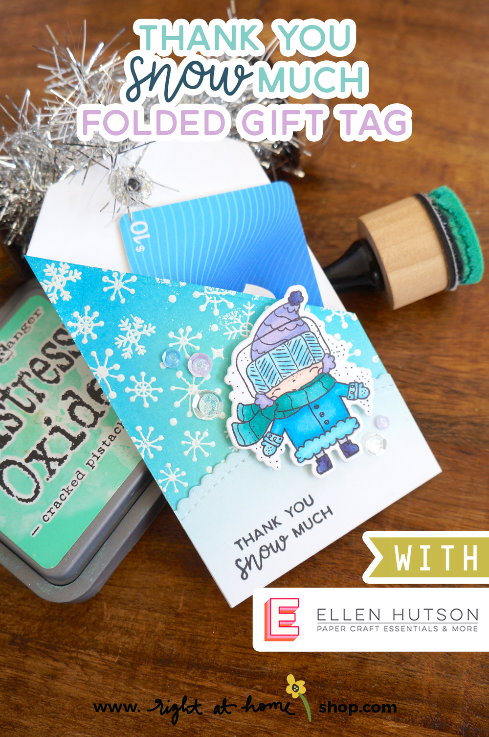 Visit my post for this quick and easy, DIY winter gift tag! Created by Right at Home for the 12 Tags of Christmas 2018 with Ellen Hutson LLC. Visit www.rightathomeshop.com/blog for more details.