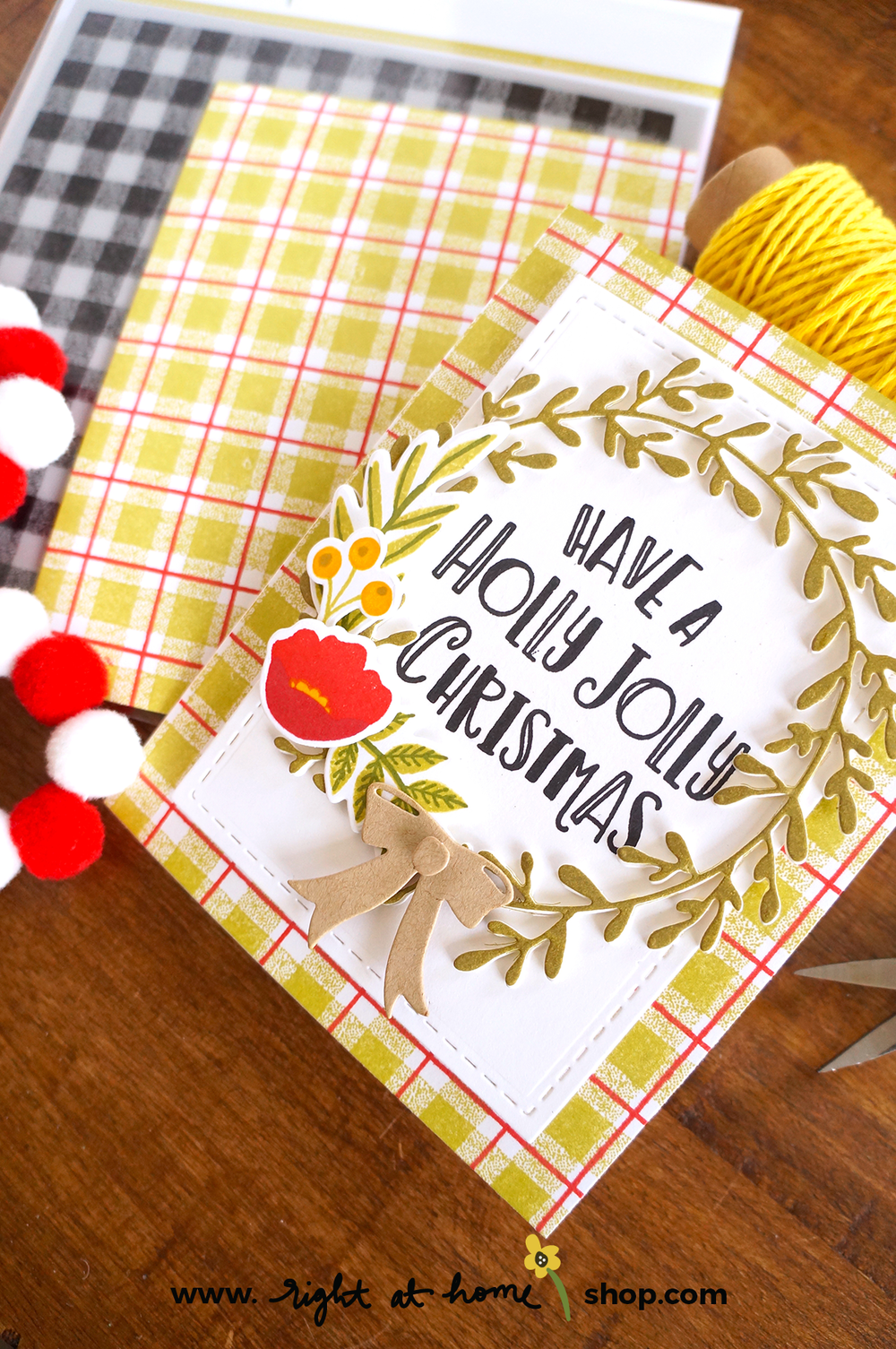 Click to view this Have a Holly Jolly Christmas Gingham Background card created using the Right at Home Gingham Background, Fa La La and Freshly Picked stamp sets. All details on www.rightathomeshop.com/blog.