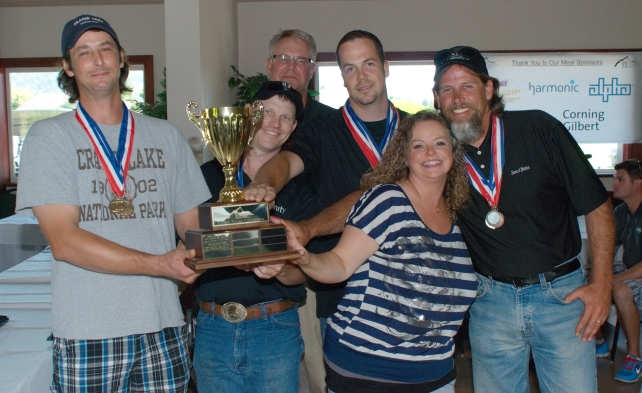 The Comcast Redmond Team strikes again, 2014 Local Team Winner! Left to Right: Dan Deckert, Allen Kendall, John Vavrousek (Mt. Rainier Chapter President), Jarrod Nihsen, Brenda Wilson (Mt. Rainier Chapter Chairwoman of the Board), Sean Conway.