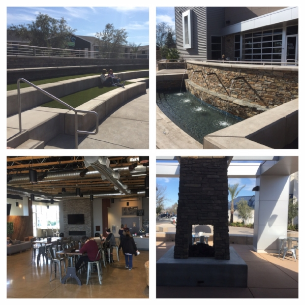 Northside's outdoor amphitheater, baptistry Frappe House and outdoor seating.