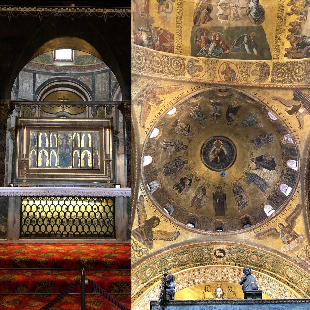 Here are two photos we took once we found Mark. LEFT: Mark in his sarcophagus on the altar. RIGHT: The dome right above it with the symbols of each gospel in the corners.