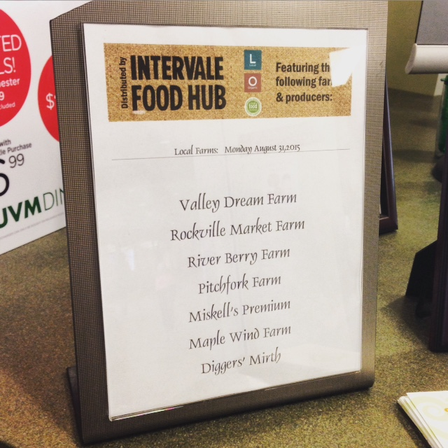 Look for these signs when eating on campus to find out which Vermont farms are featured each week!