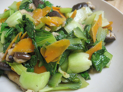 Bok Choy with Carrots and Shitake
