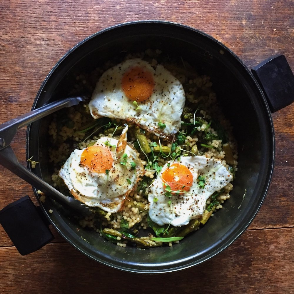Roasted Vegetable Couscous & Fried Eggs