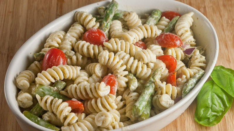 pesto yogurt pasta salad with asparagus