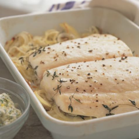 roasted halibut with chive butter