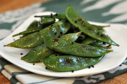 roasted sesame sugar snap peas