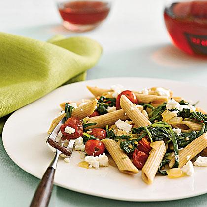 spinach tomato feta pasta