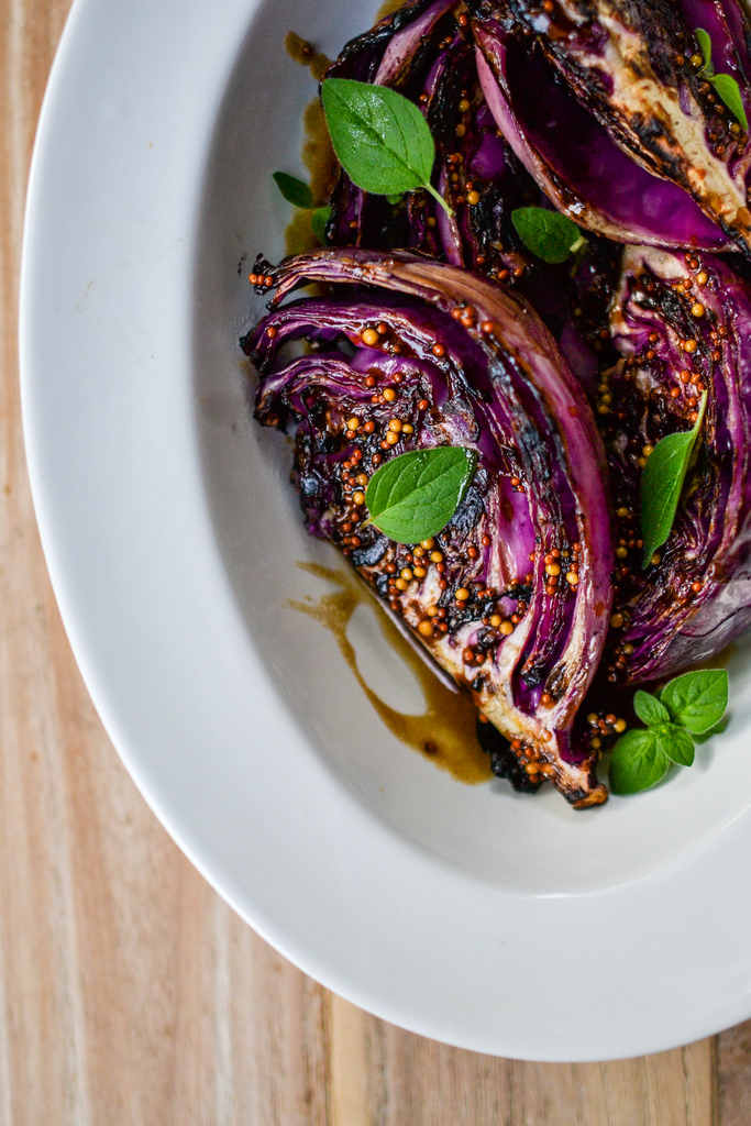 red cabbage wedges with mustard sauce
