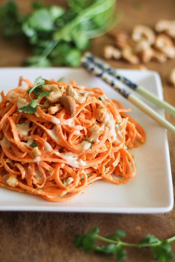carrot noodles with peanut dressing