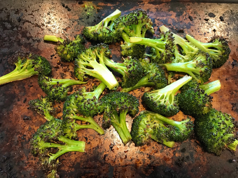 Roasted garlic broccoli with soy sauce