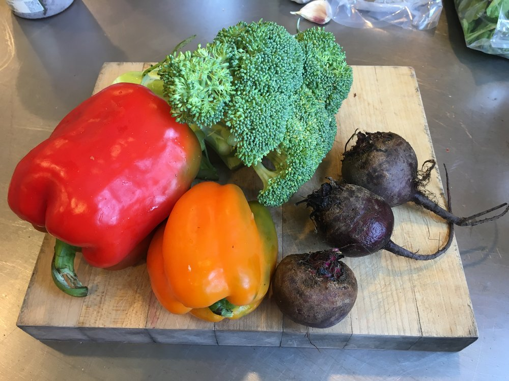 Vermont peppers, beets, and broccoli
