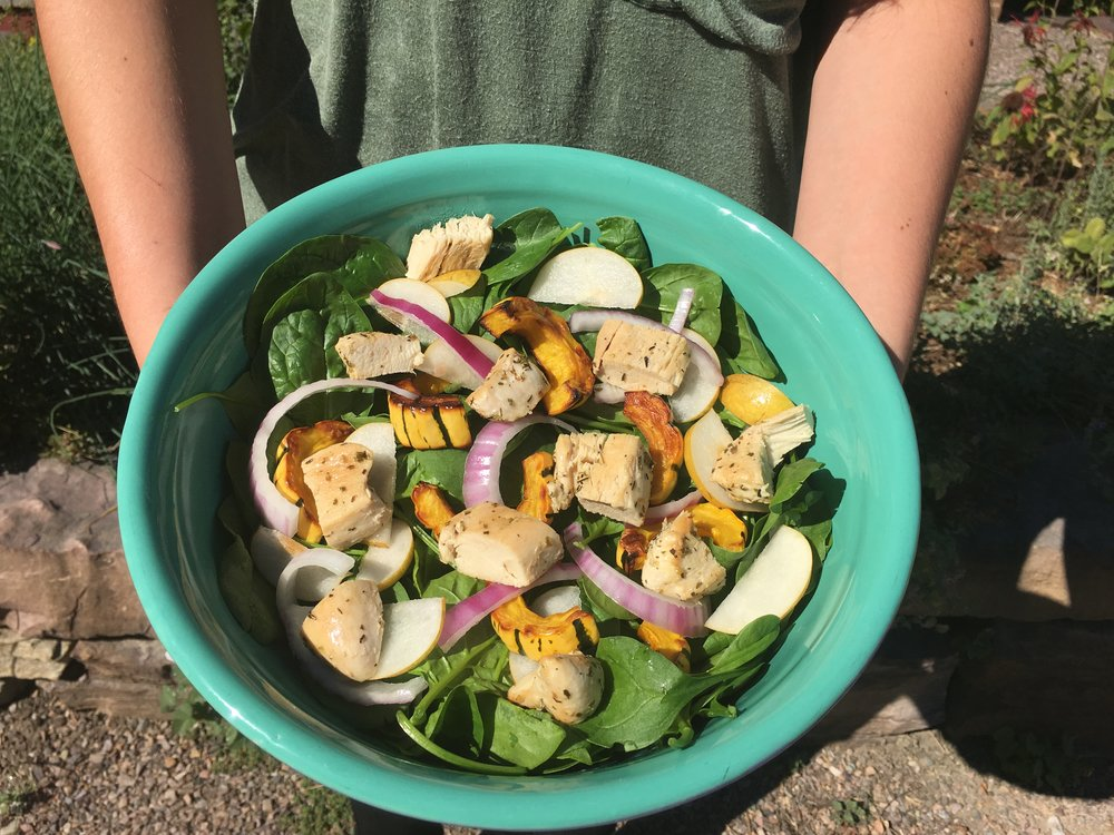 Fall Spinach Salad with squash, pears, and chicken