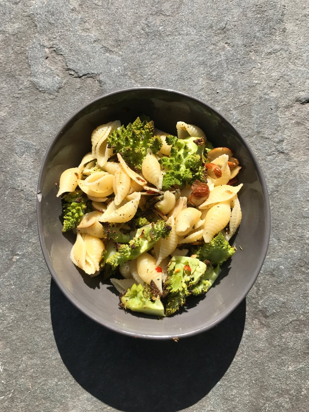 Pasta with roasted romanesco cauliflower