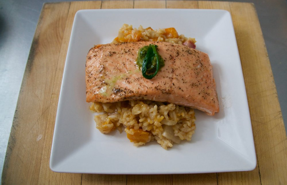 Salmon with Risotto and Roasted Vegetables