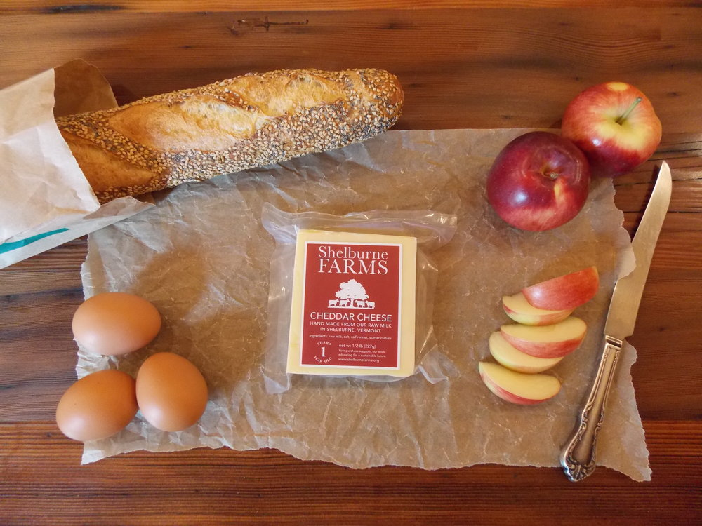 Shelburne Farms Cheddar Cheese is especially yummy with bread, eggs, apples, and veggies!