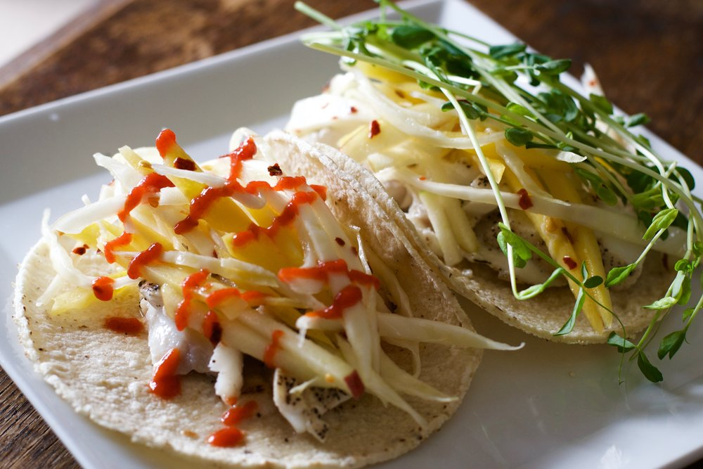 Wild Alaskan Cod Tacos with Carrot-Cabbage-Apple Slaw