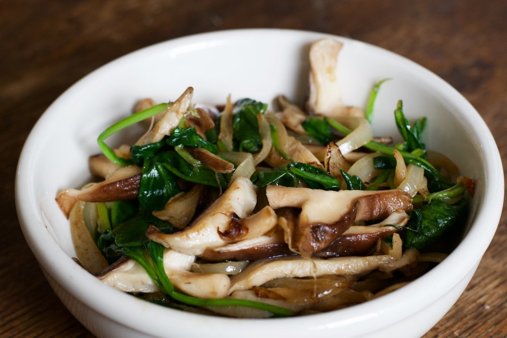 Sauteed Mushrooms, Spinach, and Onions