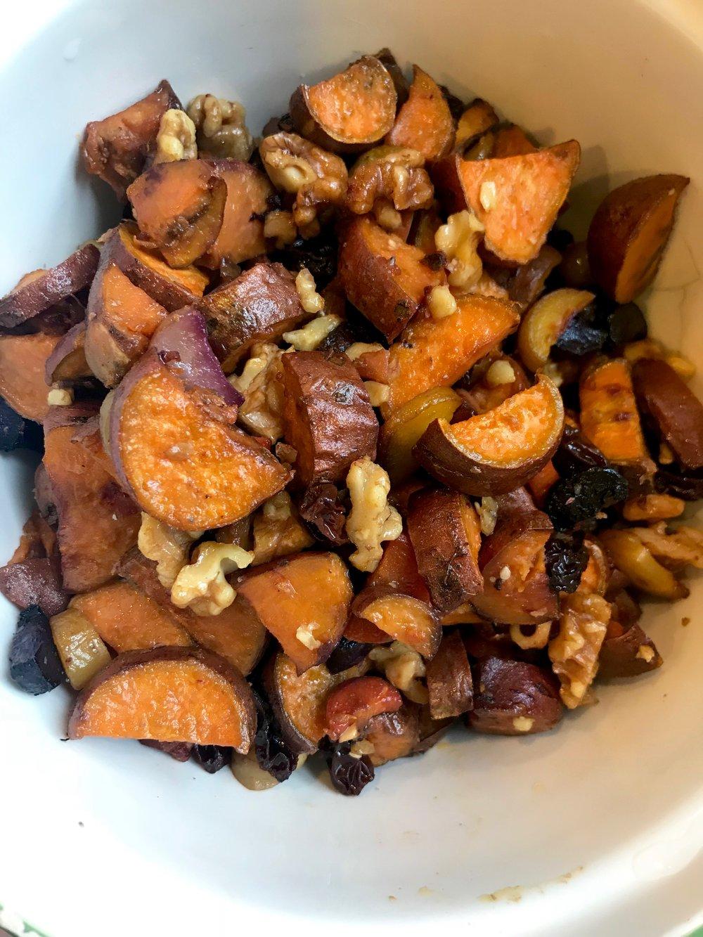 honey roasted sweet potato with Raisins and Walnuts