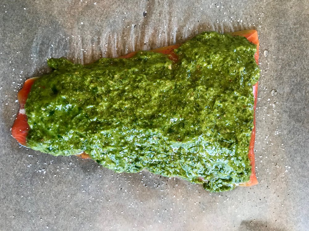 This salmon might be from Alaska, but it looks like Vermont when it's covered in green!