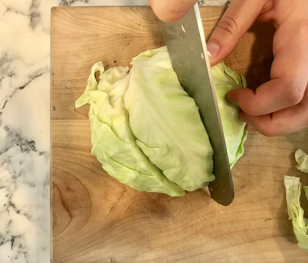 cutting cabbage wedges