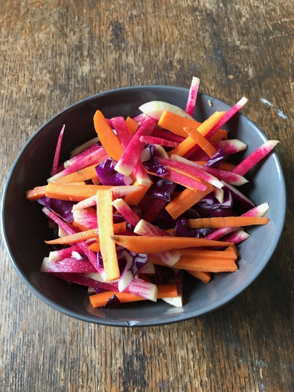 Watermelon Radish, Carrot, and Cabbage Salad