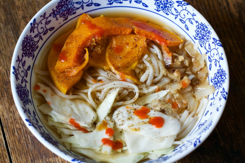 Noodle Bowl with Cabbage, Winter Squash, and Vegetable Broth