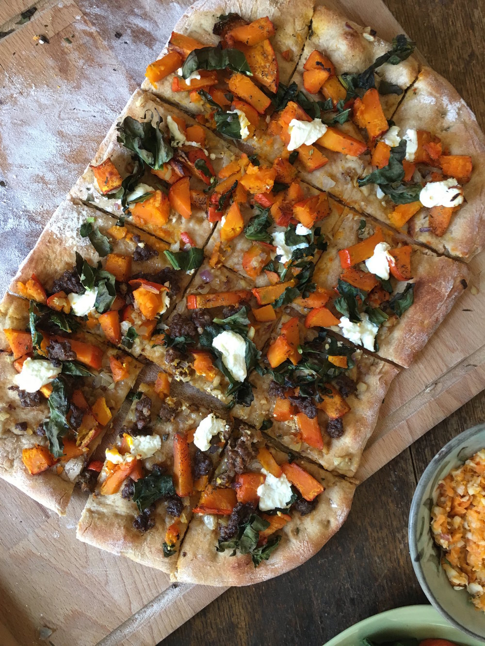 Winter Squash Pizza with Chevre and Greens
