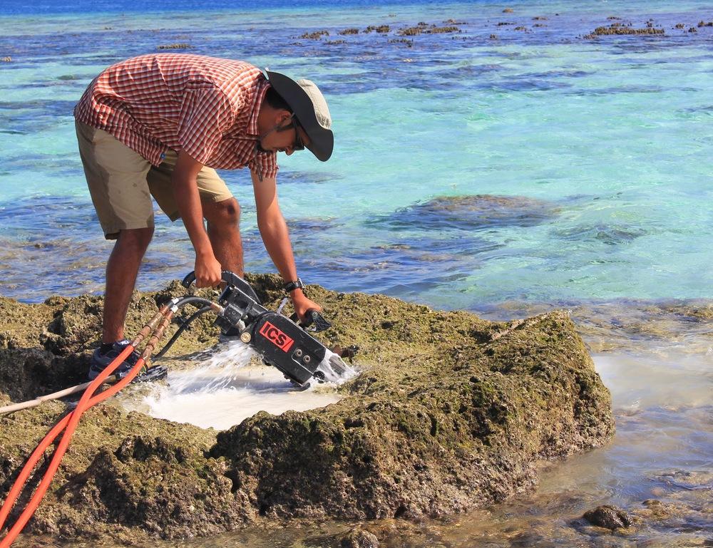 Slabbing a huge ~8m microatoll at Olasana Lagoon, southeast Ghizo