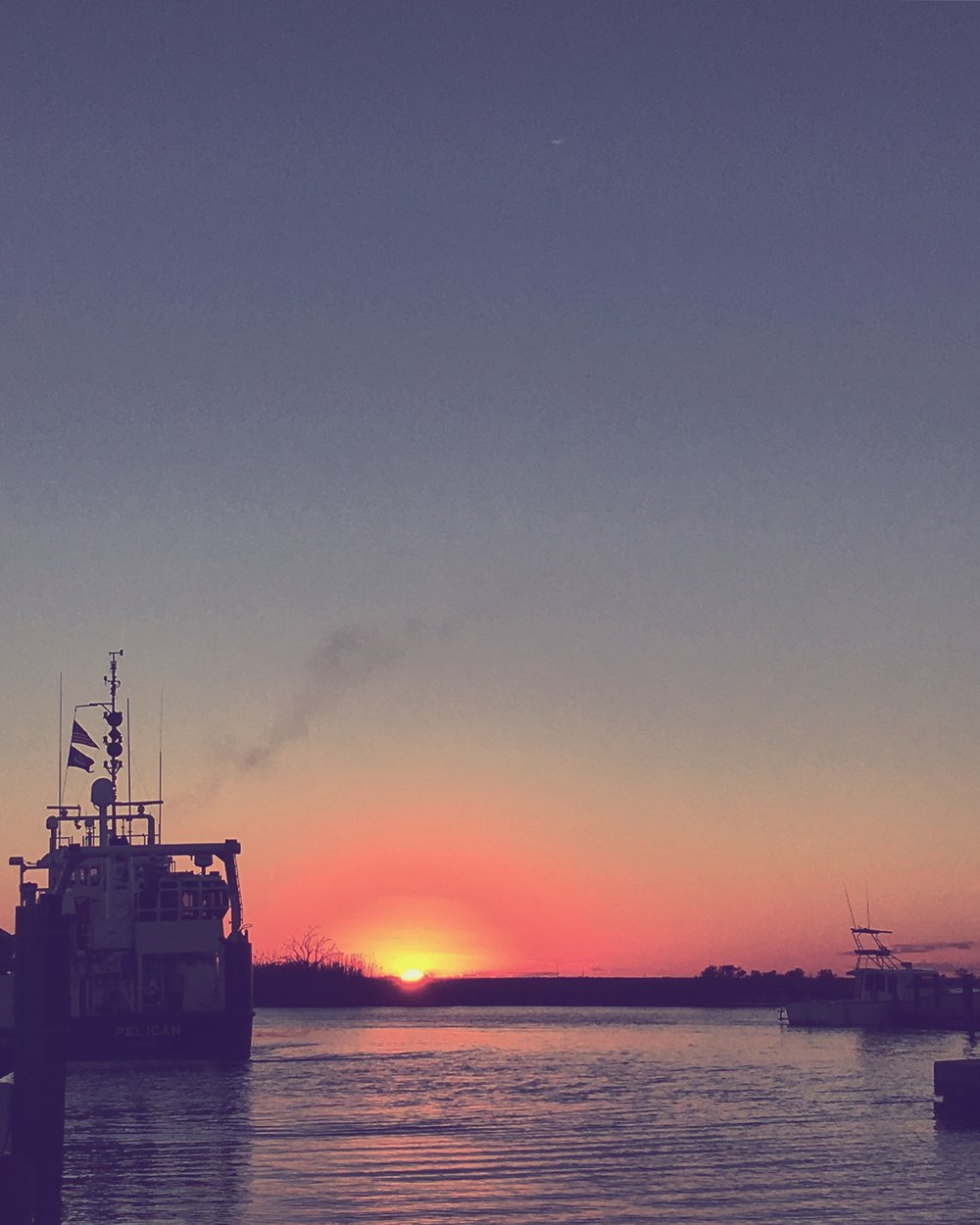 A very pretty Cocodrie sunset with the R/V Pelican.